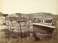 26. Main Western Canal. Rhotas Road Bridge, hauling over the girdars, 3 spans of 60 feet.